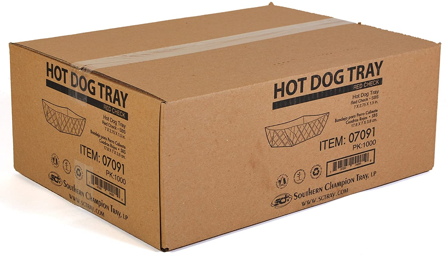 Amazon.com: Southern Champion Tray 07091 Paperboard Red Check Hot Dog Tray, 7