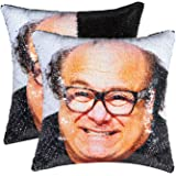cygnus Sequin Pillow Cover Danny Devito Face Funny Gifts Reversible Magic Mermaid Decorative Throw Pillow Case That…