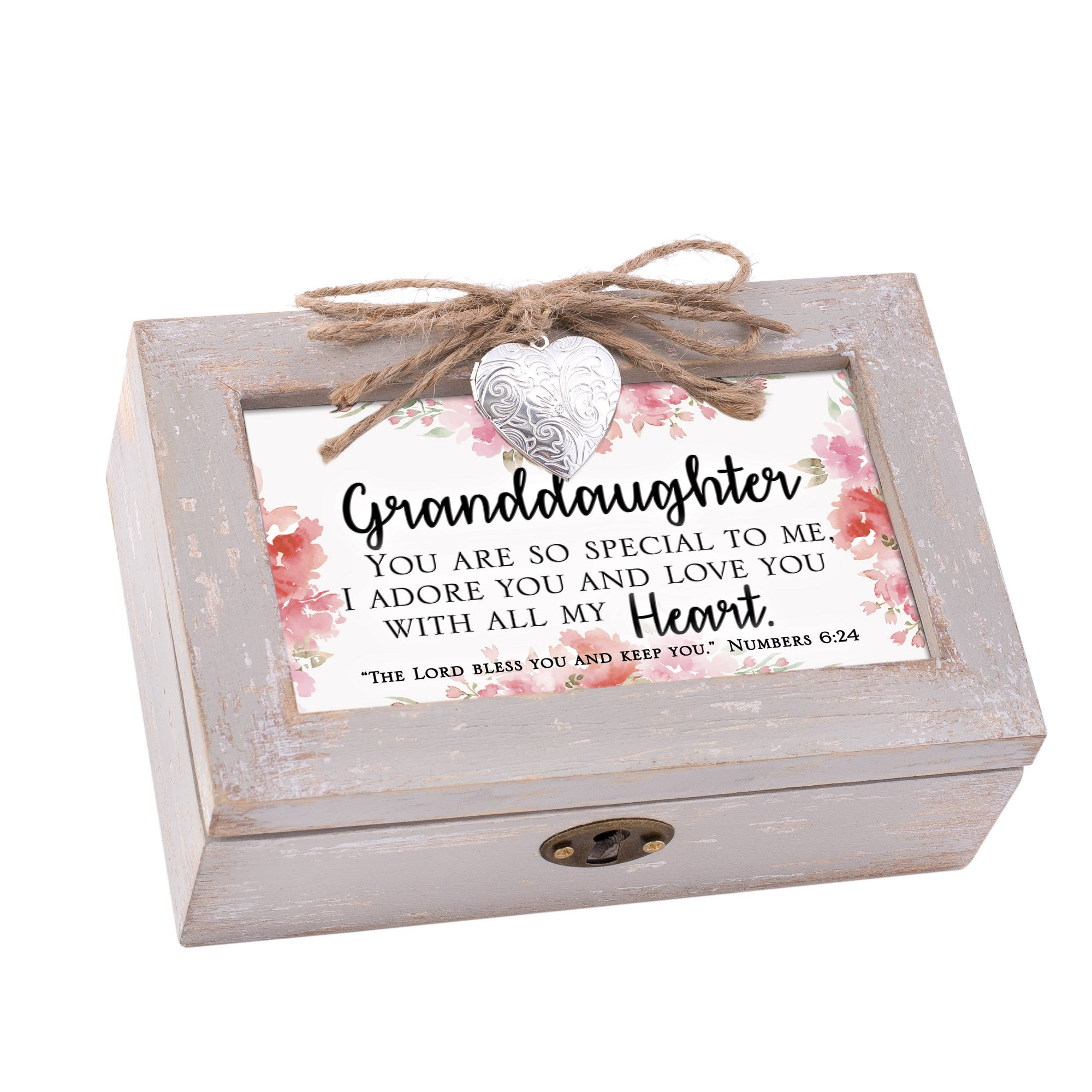 Cottage Garden Granddaughter Natural Taupe Wood Locket Petite Music Box Plays How Great Thou Art