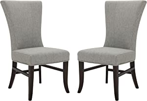 "Amazon Brand – Stone & Beam Reinhart Classic Upholstered Dining Chair, 20.5""W, Set of 2, Light Gray"