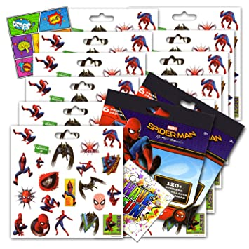 Spiderman Homcoming Stickers Party Favors Bundle of 12 Spiderman Sticker Sheets and 2 GWW Specialty Reward Stickers