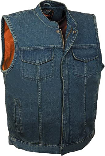 Black, 5X Milwaukee Leather Mens Collarless Concealed Snap Leather Club Style Vest