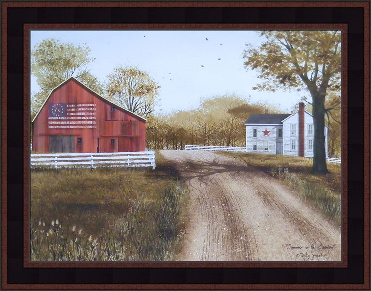 Home Cabin Décor Summer in The Country by Billy Jacobs 15x19 Patriotic 1976 Bicentennial Flag Barn Farm Primitive Folk Art Framed Picture