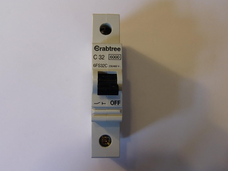 Crabtree 6FS32C 32 Amp Single Pole MCB Circuit Breaker Type C 32A 240 Volt SP