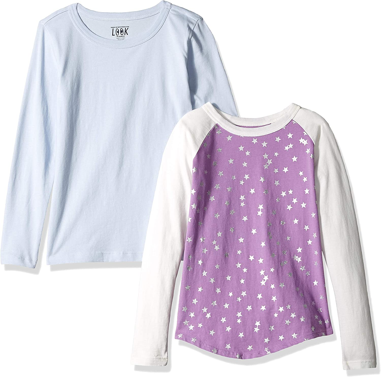 Crew Brand // J LOOK by crewcuts Girls 2-Pack Graphic//Solid Long Sleeve T-Shirt