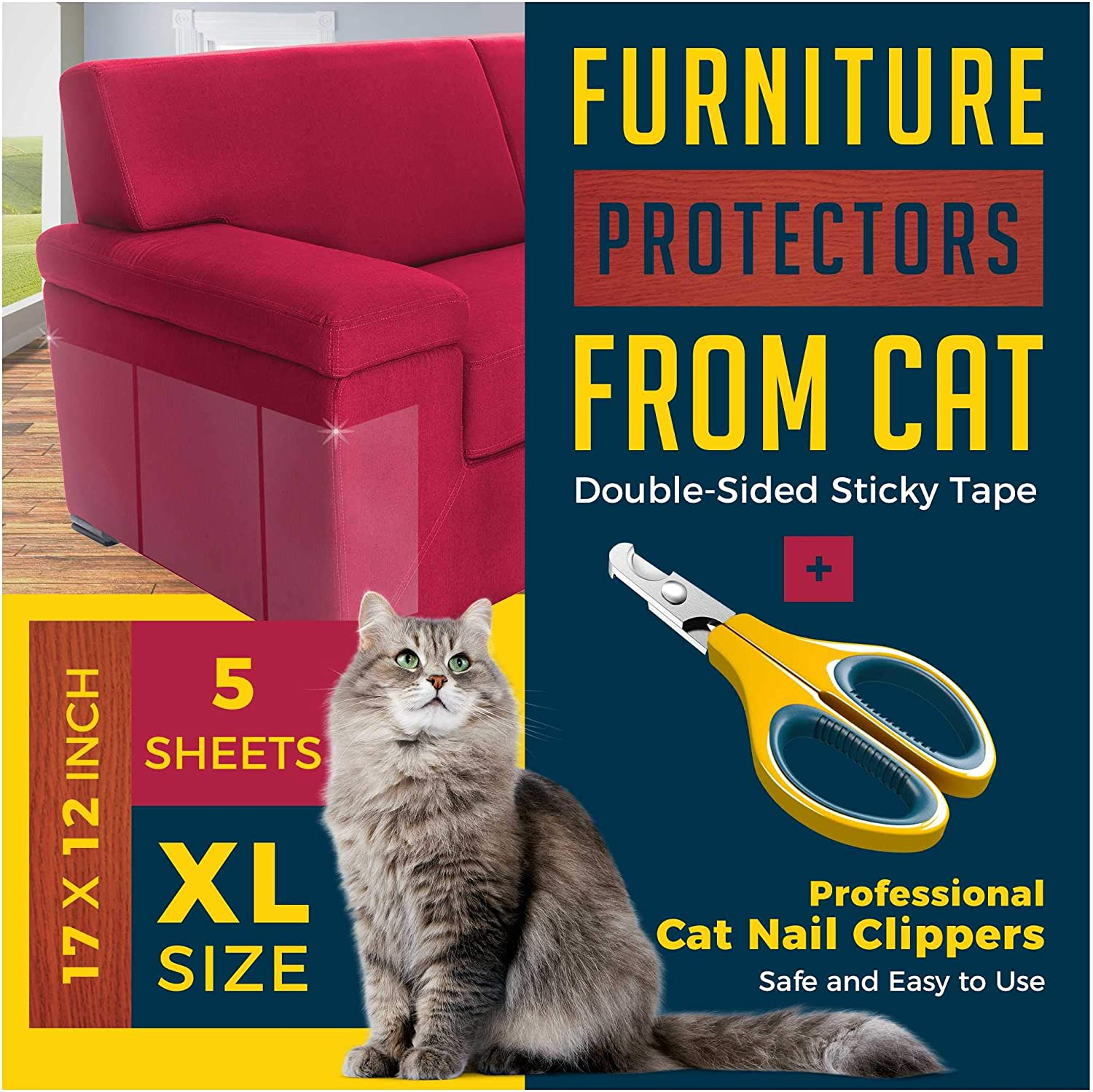 Anti Cat Scratch Furniture Protector-Useful Nail Clippers Easy to Handle-5 Highly Effective Huge Clear Double Sided Training Tape Couch Protector from Cats- All You Need to Live Happily with Your Cat