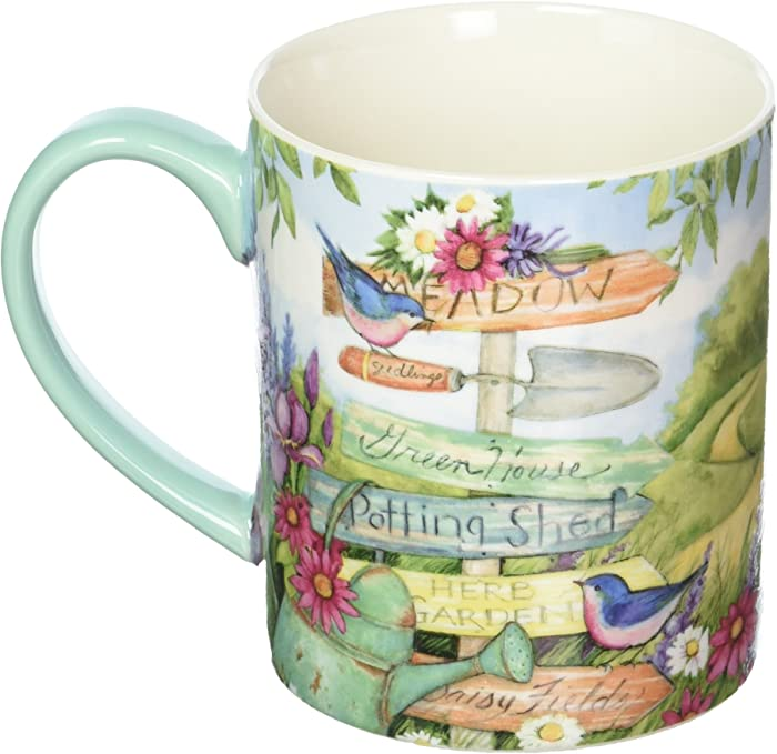 Lang Garden Signs Mug by Susan Winget, 14 oz, Multicolored