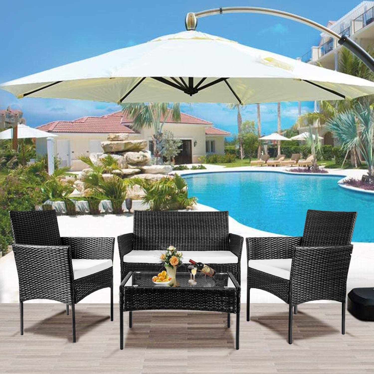 nozama Rattan 4 Piece Outdoor Furniture Backyard Conversation Set for Garden Rattan Patio Sets with 2 Single Armchairs 1 Loveseat 1 Table (Black)