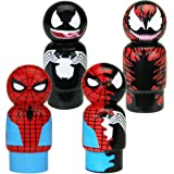 Bif Bang Pow! Spider-Man, Venom, Dual Spider-Man & Carnage Pin Mate Wooden Figure Set of 4 Collectible, 2""