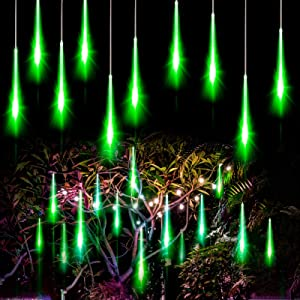 Allnice Meteor Shower Lights Falling Rain Lights Christmas Lights 30cm 8 Tube 192 LEDs Fairy String Lights for Halloween Christmas Wedding Tree Garden Home Outdoor Decoration (Green)