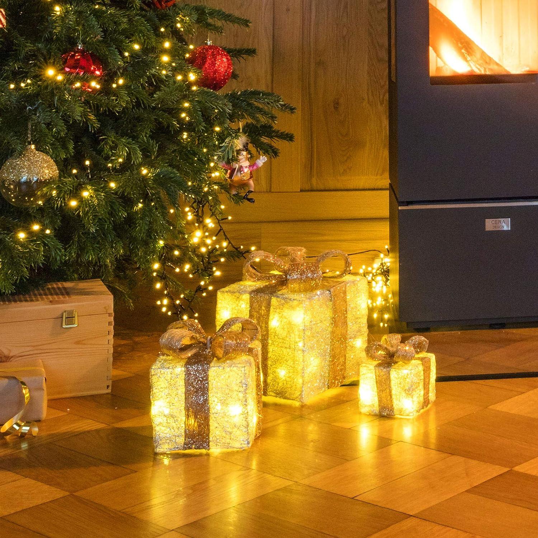 Timer Funktion Weihnachts Dekoration Weihnachtsdeko Geschenke Spetebo LED Deko Geschenk Boxen 3er Set inkl