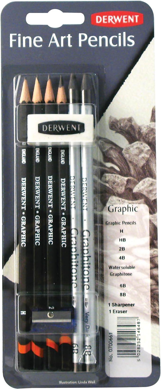 Professional Derwent Graphic Graphite Drawing Pencils Set of 6 with Sharpener