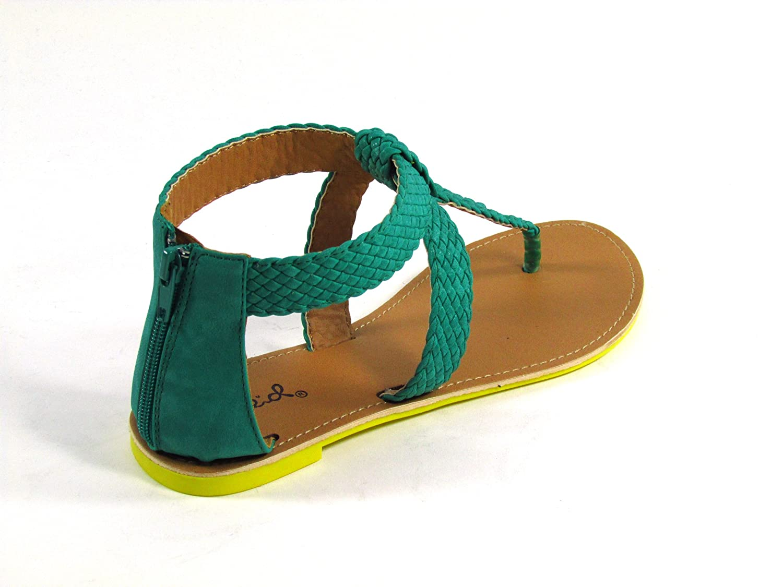 Qupid Athena-528 Braided T-Strap Flat Sandal
