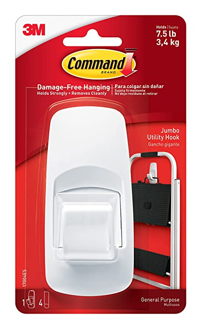 Command Jumbo Plastic Utility Hook(White,1 hook and 4 strips)