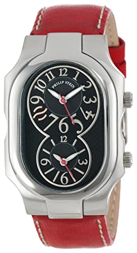 Philip Stein Unisex 2-BK-CSTR Signature Stainless Steel Watch with Leather Band