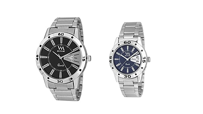 Watch Me Watches for Mens Stylish Gift Combo Set of Day and Date Couple Pair Gift Watch Set for 2 WM-008-BK-009-BUkwrd watch for mens under 500 ; watches for mens stylish ; watch for men stylish latest
