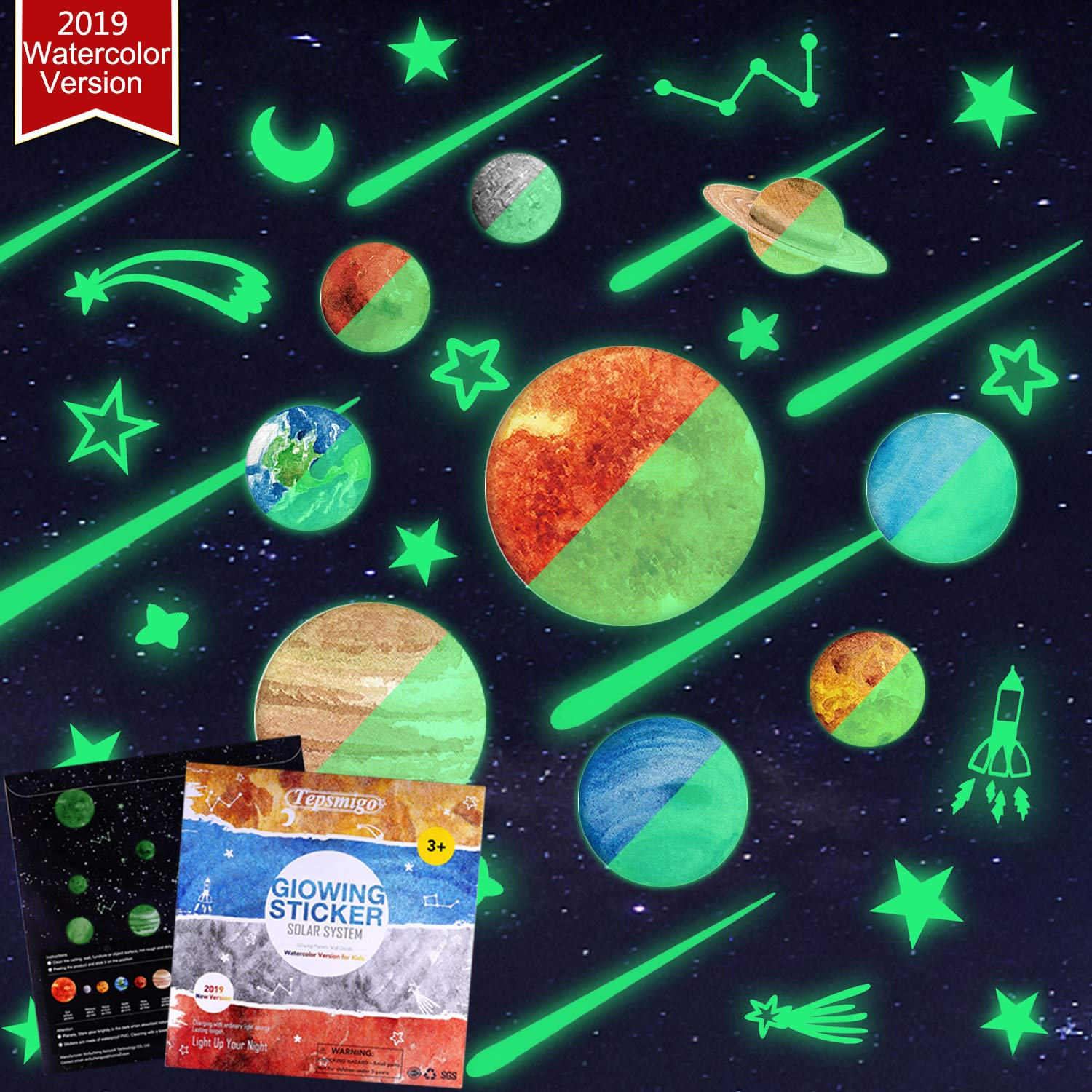 TEPSMIGO 68pcs Glow in The Dark Stars and Planets Wall Stickers, 9 Planets + 28 Stars + 12 Shooting Stars + 19 Constellation Symbols, Bright Solar System Wall Stickers Glowing Ceiling Decals for Kids