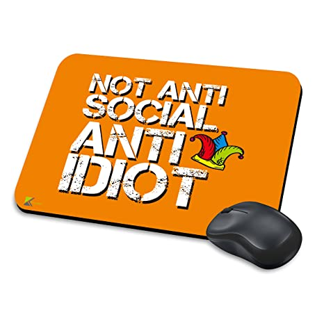 MM008 – no anti social, anti idiota Funny regalo alfombrilla de ratón/Mousepad antideslizante
