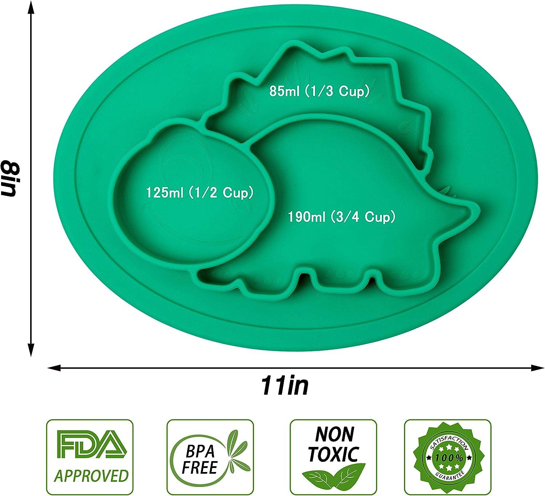 nourrissons aspiration forte /à la table Assiettes en silicone pour b/éb/és Qshare enfants en bas /âge et enfants 100/% sans BPA et approuv/ées par la FDA lave-vaisselle et au micro-ondes