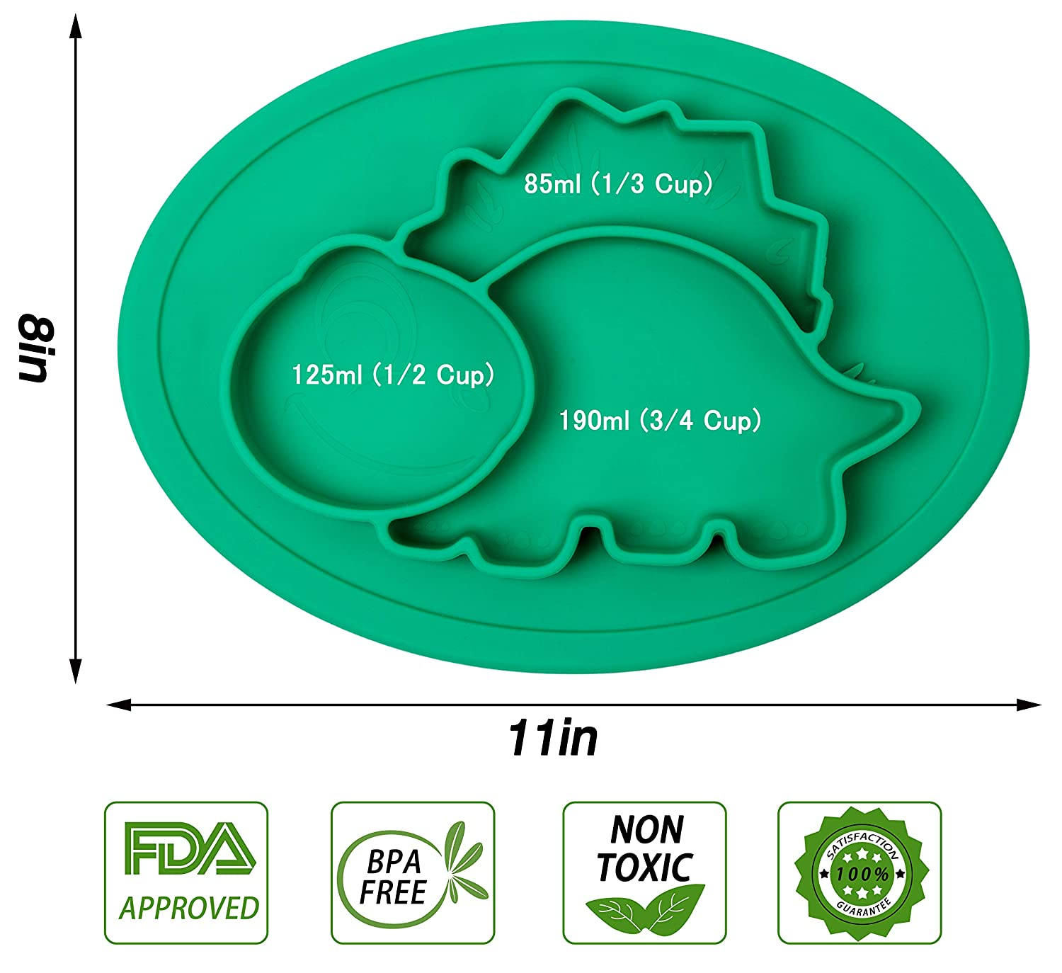 BPA-Free FDA Approved Strong Suction Plates for Toddlers Qshare Toddler Plates One-Piece Baby Plate for Babies Toddlers and Kids Dishwasher and Microwave Safe Silicone Placemat 28 * 20 * 2.5cm