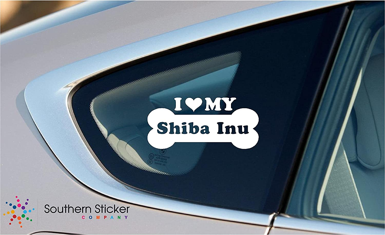 I Love My Shiba Inu Dog Bone Puppy Symbol White Vinyl Car Sticker Symbol Silhouette Keypad Track Pad Decal Laptop Skin Ipad Macbook Window Truck Motorcycle