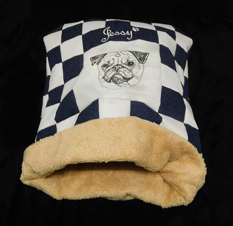 LunaChild Hunde Kuschelhöhle Hundebett Mops 3 Name Snuggle Bag Größe S M L oder XL in vielen Farben erhältlich