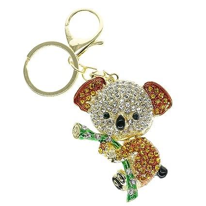 cooplay Cute Lovely Animal de koala Diamond Crystal Rhinestone Color Dorado Crystal Llavero con muñeca colgante hermoso accesorios El mejor regalo ...
