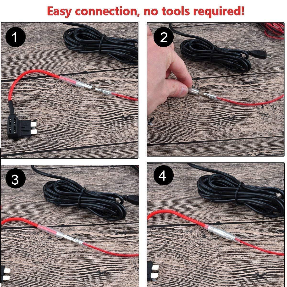 24V a 5V para c/ámaras Dash GPS Dash CAM Hardwire Kit Micro Alambre Duro Coche Cargador Kit de Cable USB 12V