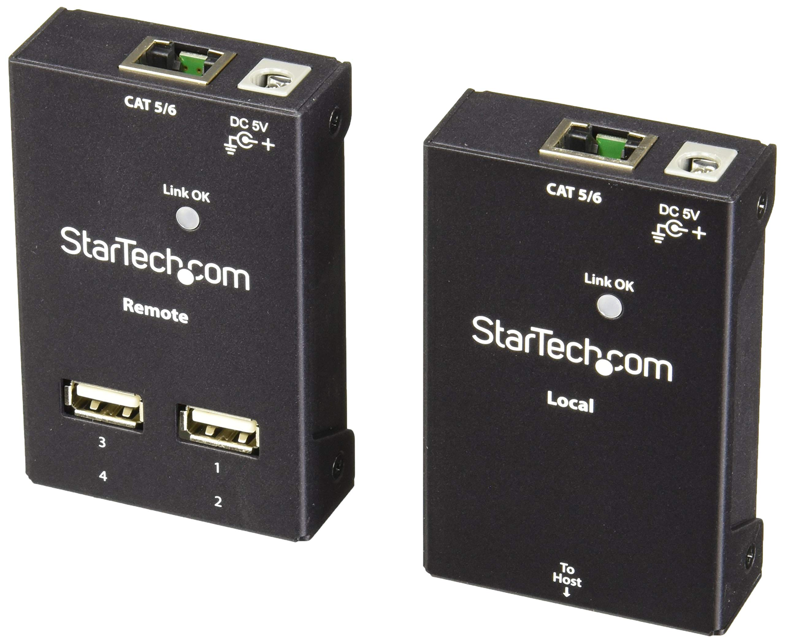 StarTech.com 4 Port USB 2.0-Over-Cat5 / 6 Extender - up to 130ft (40m) Cat5 or 165ft (50m) Cat6 - Cost-effective & Compact USB Extension (USB2004EXTV) by StarTech