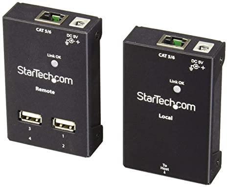 StarTech.com 4 Port USB 2.0-Over-Cat5 / 6 Extender - up to 130ft (40m) Cat5 or 165ft (50m) Cat6 - Cost-effective & Compact USB Extension (USB2004EXTV)