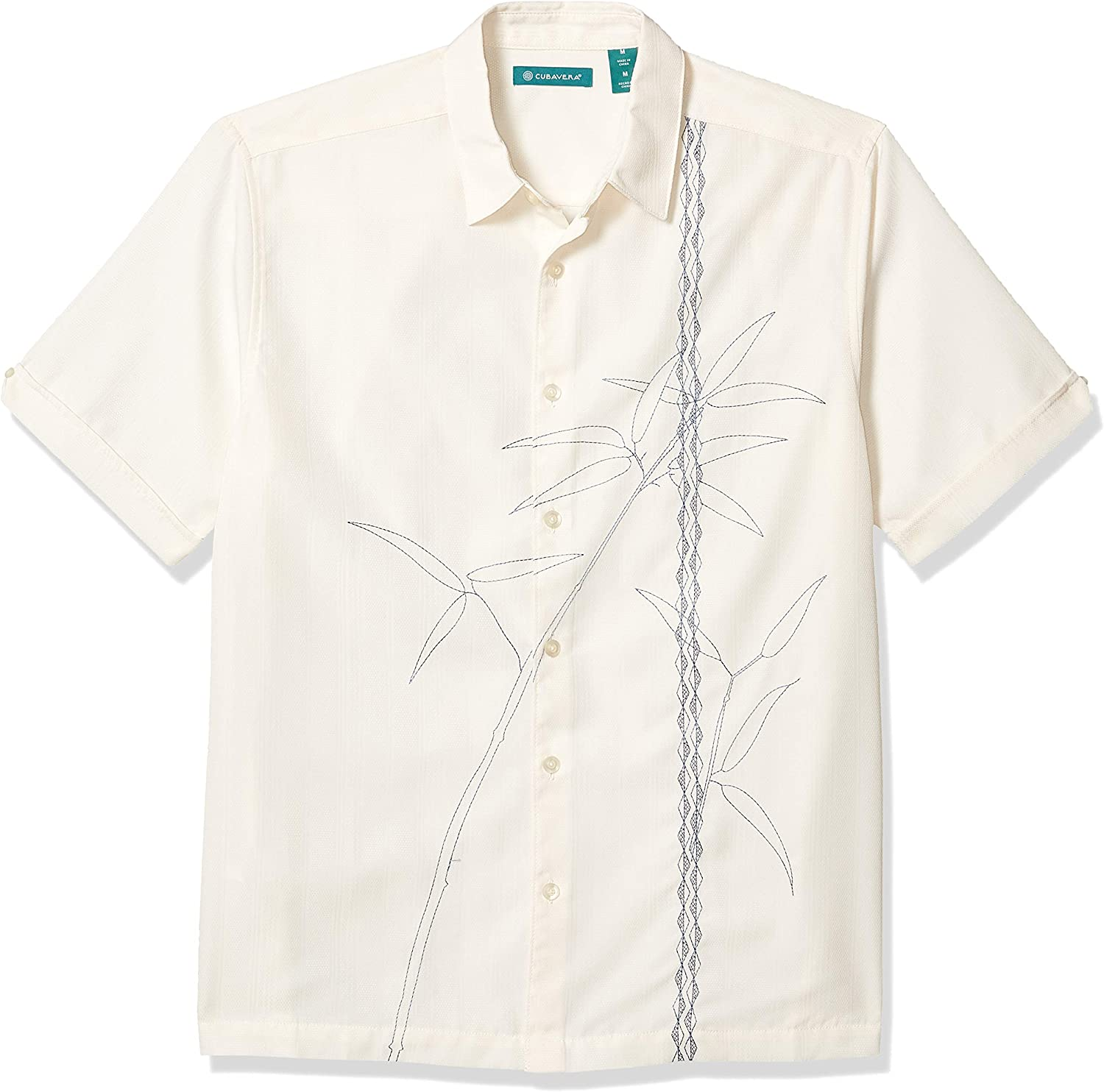 Cubavera Men's Textured Asymmetrical Bamboo Embroidery Shirt