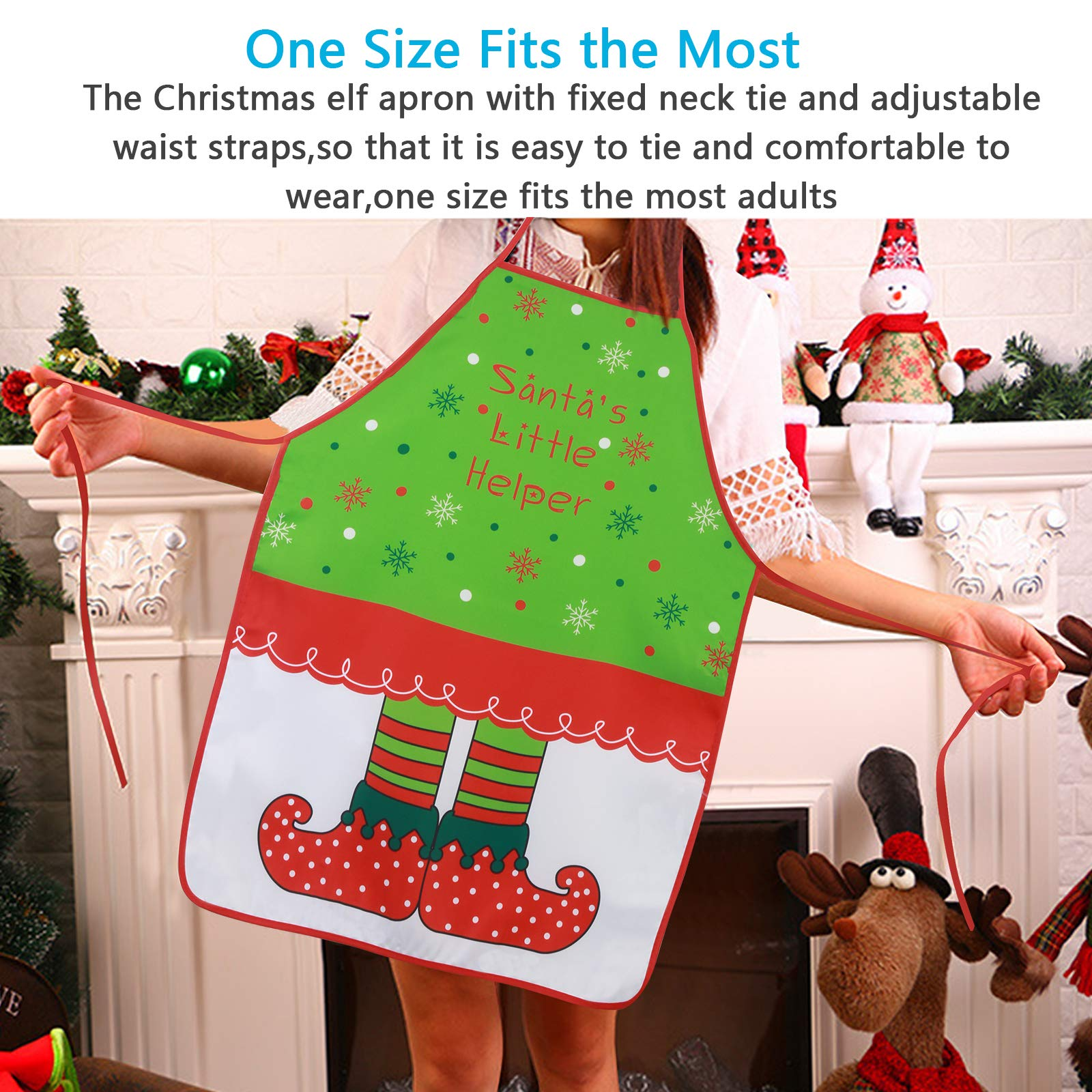 KAKOO Christmas Apron, Pixie Style Adult Kitchen Apron for Christmas Party Chef Cooking Restaurant House Cleaning Gardening Home