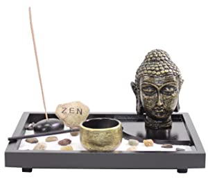 Tabletop Zen Garden Buddha Head Rock Rake Candle Holder Incense Burner Home Decor