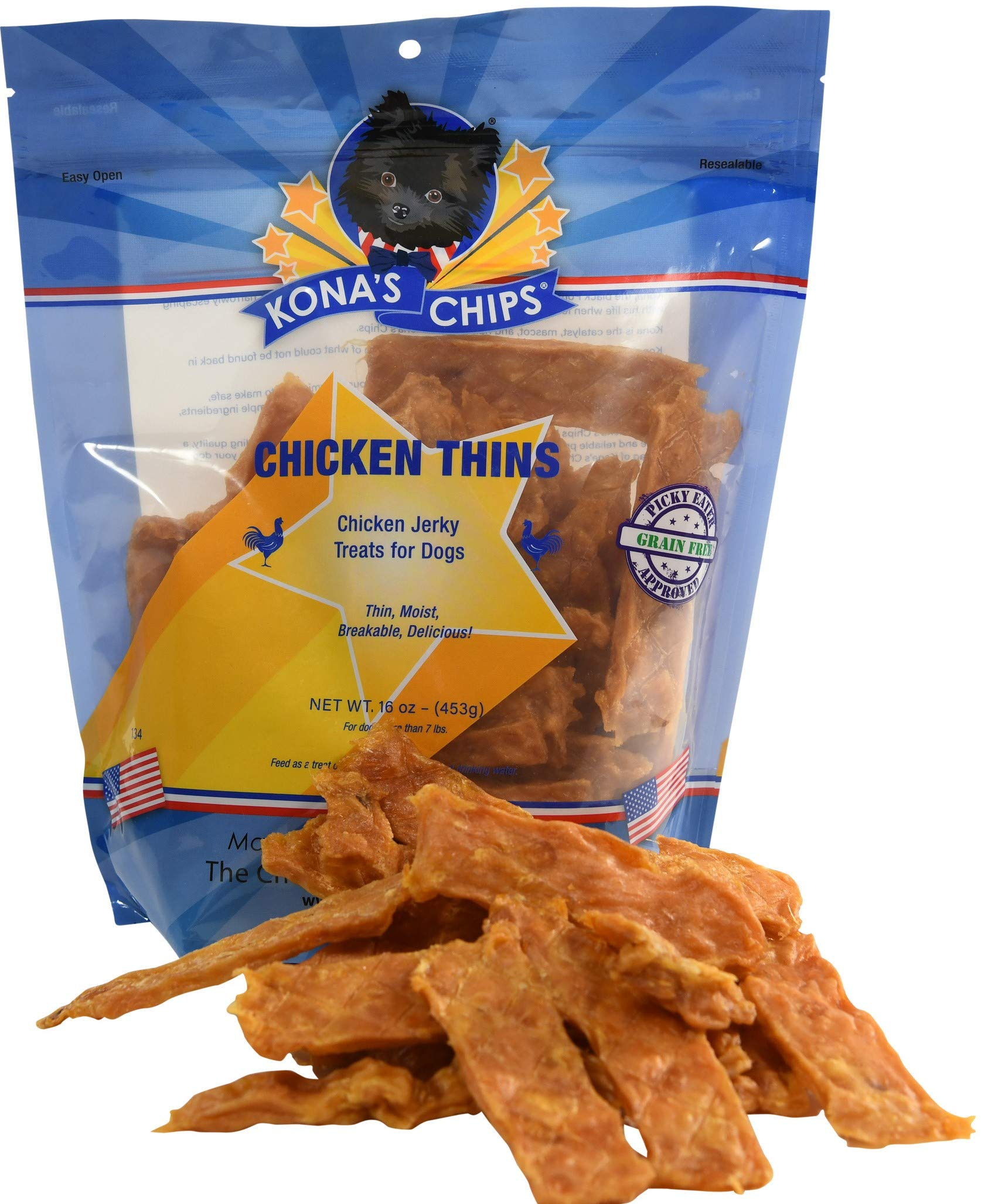 KONA'S CHIPS Chicken Thins; Chicken Jerky Dog Treats