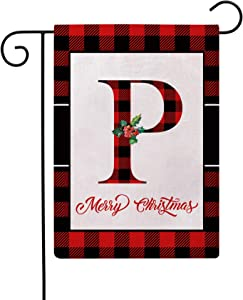 Christmas Plaid Decorative Garden Flags with Monogram Letter P Double Sided Farmhouse Red/Black Buffalo Plaid Winter Holiday Outdoor Garden Flags 12.5×18 Inch for House Garden Yard Patio Decor (P)