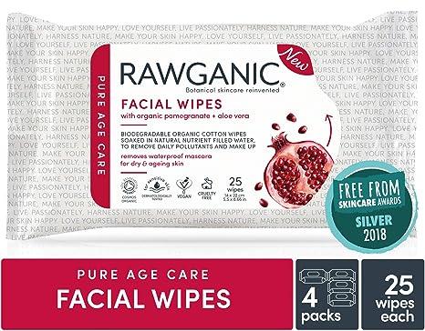 Toallitas faciales hidratantes RAWGANIC – granada orgánica 25 toallitas