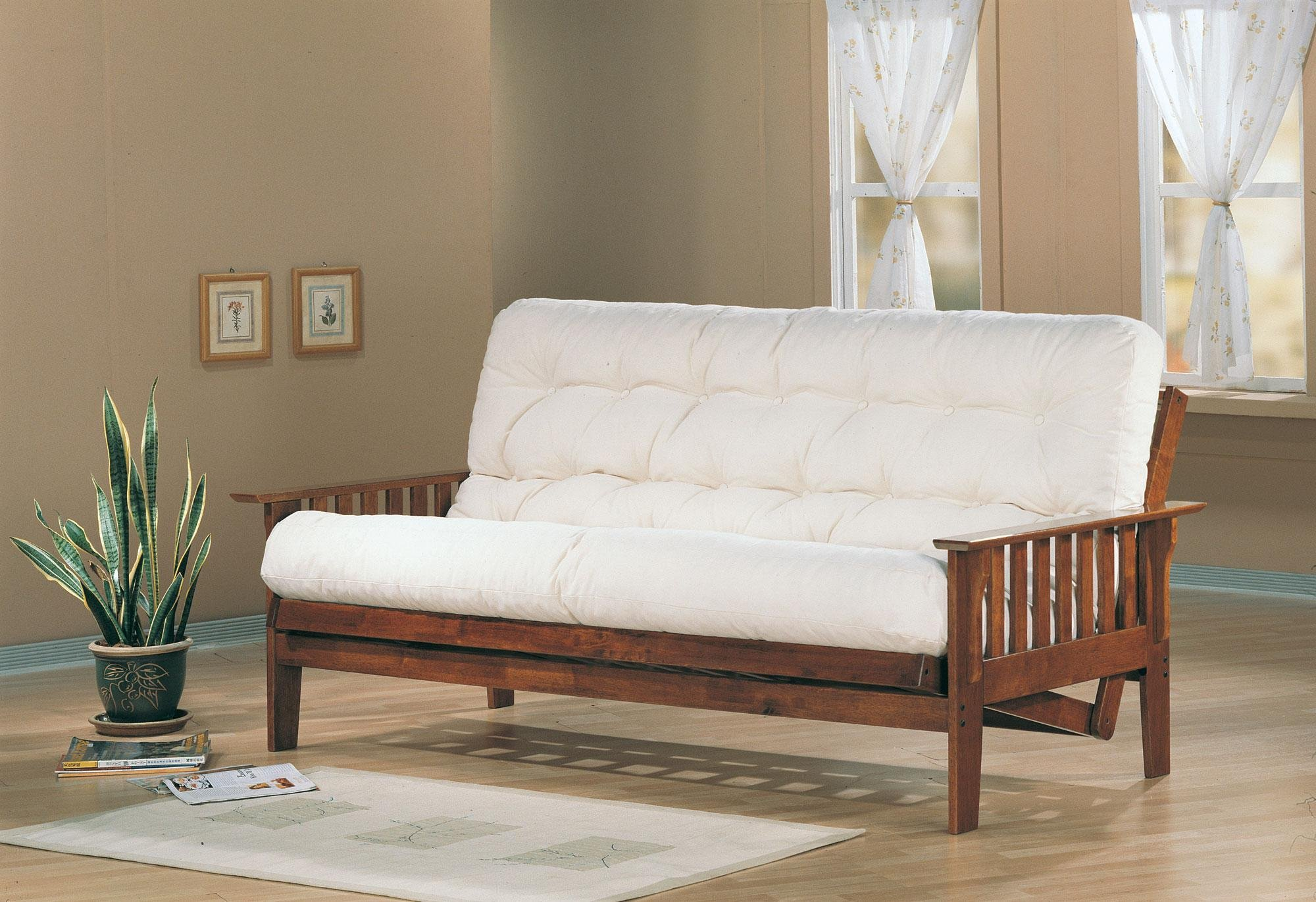 Futon Frame with Slat Side Detail Dirty Oak by Coaster Home Furnishings