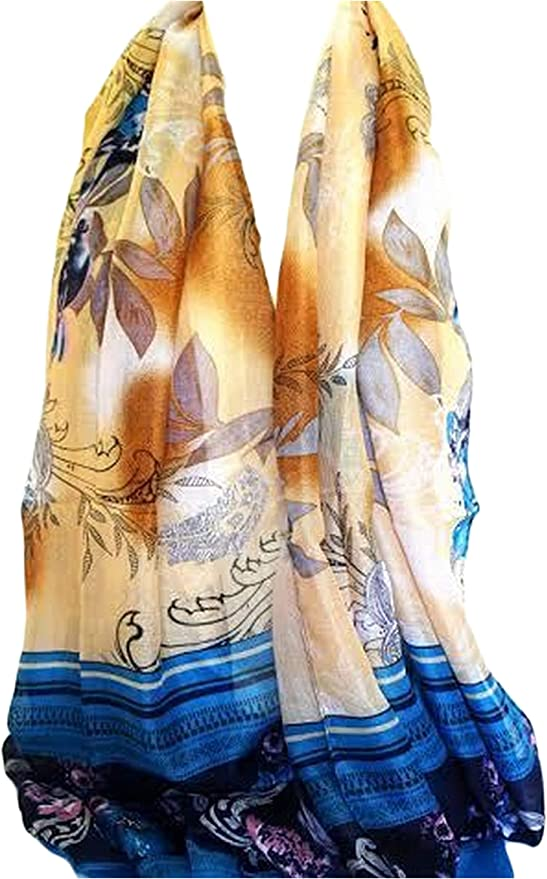 Royal Blue Exotic Floral Print Large Maxi Scarf Stole Sarong Scarves Hijab