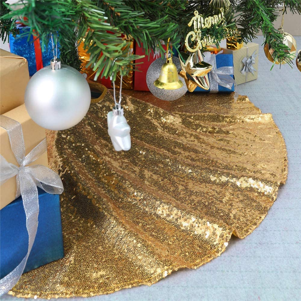B-COOL Christmas Tree Skirt Light Blue Sequin Christmas Tree Skirt for Merry Christmas Glitz Fabric Tree Mats Seasonal Decorations 24Inch