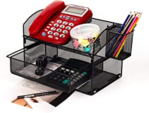 VANRA Desk Organizer Set Metal Mesh Desktop Telephone Stand with Pencil Cup Holder, 2 Piece Black