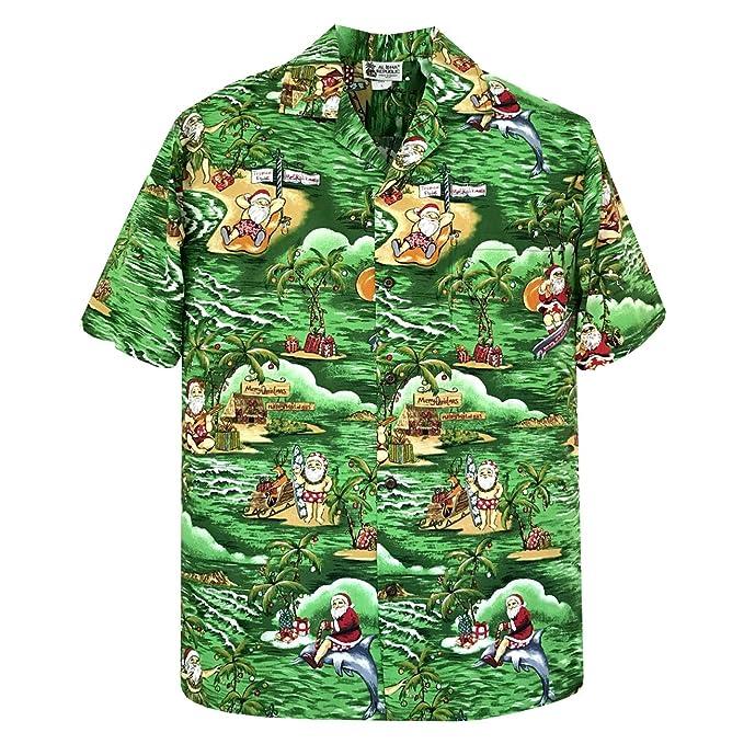 Christmas Hawaiian Shirts.Aloha Republic Exclusive Christmas Hawaiian Shirt With Santa Surfing
