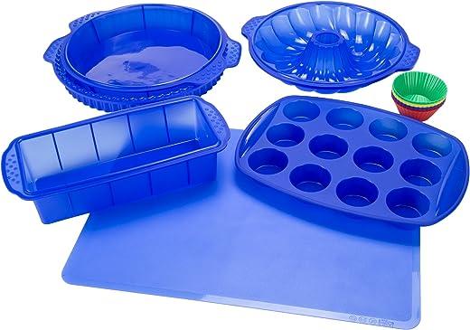 Classic Cuisine 82-18700-BLU Silicone Blue Bakeware Set