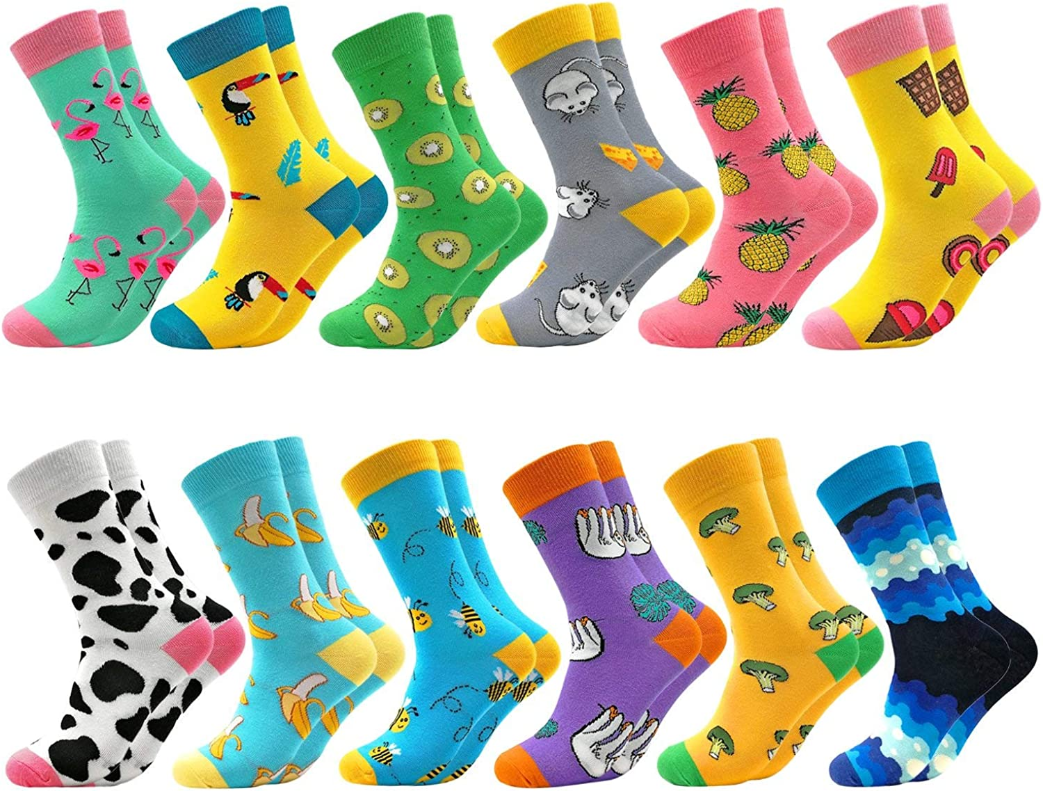Fun Colorful Socks Combed Cotton Stockings Mid Calf Art Patterned Funky Happy Sock Packs, 12 Pairs1204, Free Size US 6-11: Clothing