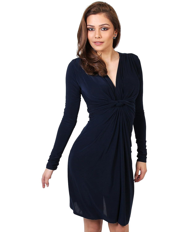 KRISP Damen Kleid Langarm Figurbetonend Kurz Gerafft Gebunden
