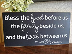CELYCASY Kitchen Wall Decor,Kitchen Decor,Bless The Food,Dining Room Sign,Dining Room Decor,Blessing Sign,Wood Sign,Joanna Gaines,Magnolia Market