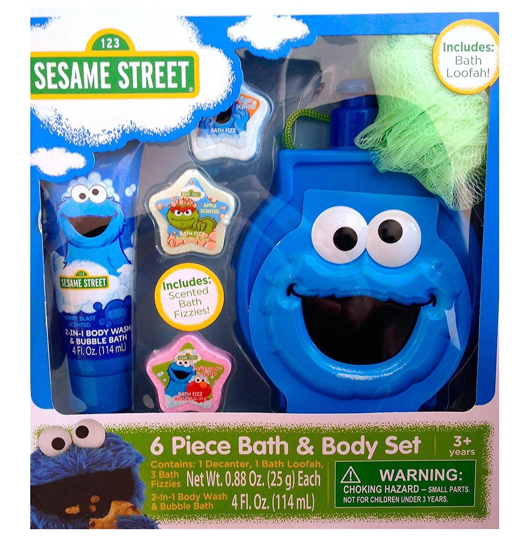 Amazon.com : Sesame Street 6 Piece Bath & Body Set Elmo and Cookie ...
