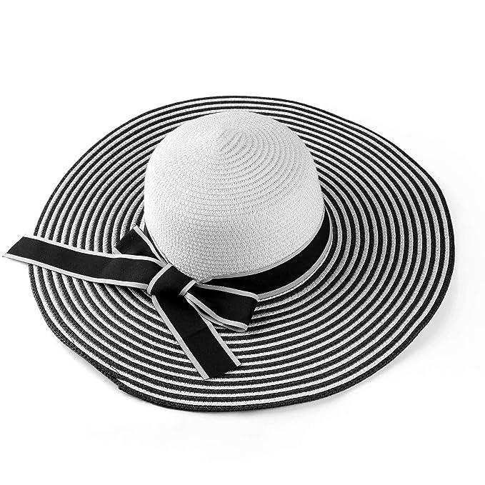 9e0c6f89 ECCRIS Women Summer Foldable Black/White Striped Wide Brim Floppy Straw Hat
