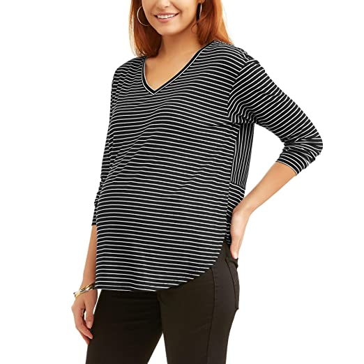 cad4556eb44bc Amazon.com: Faded Glory Maternity Long Sleeve V-Neck Striped Tee T ...