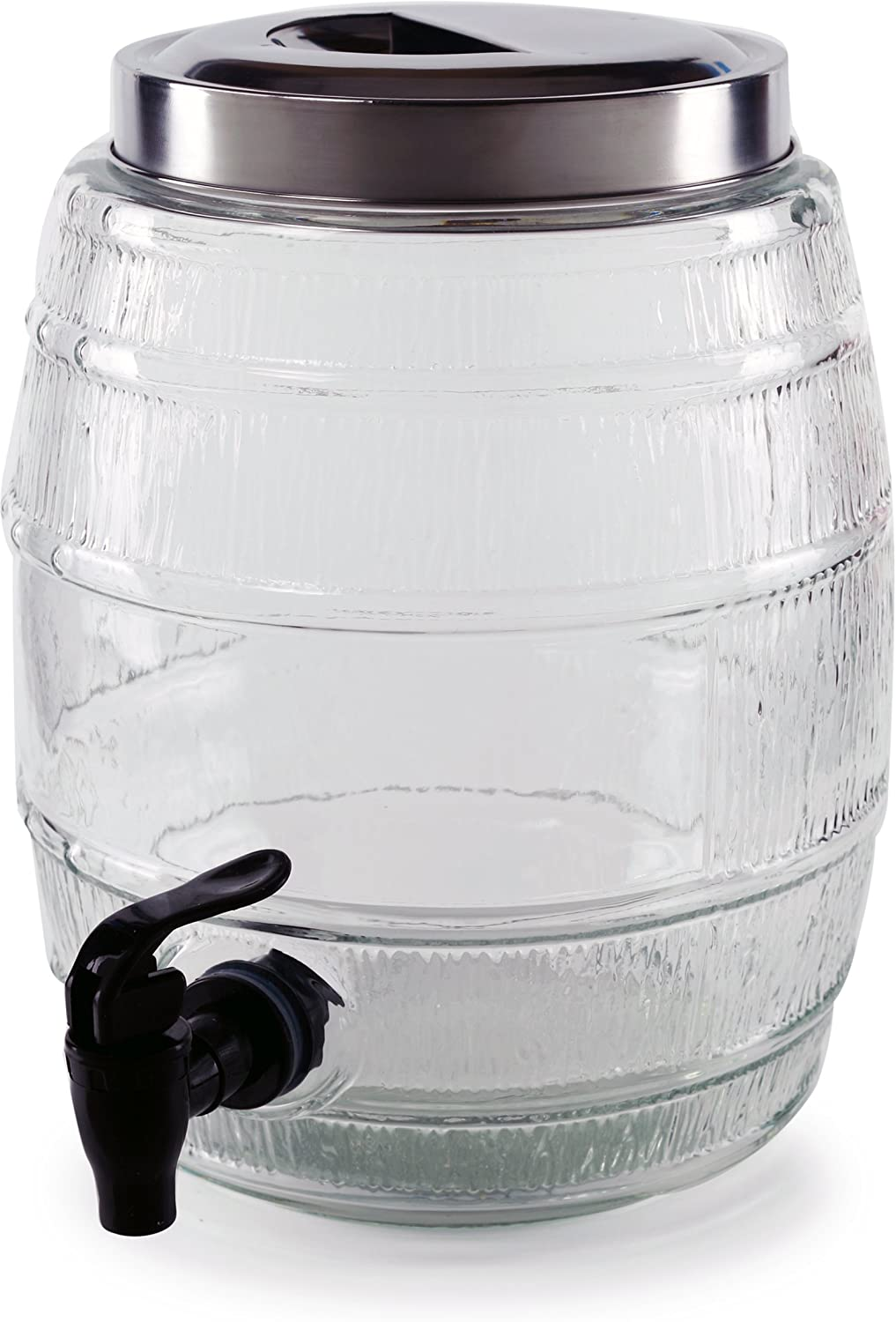 Circleware Barrel Shaped Sun Tea Jar Beverage Dispenser, Fun Party Entertainment Home Kitchen Glassware Water Pitcher for Juice, Beer, Kombucha & Cold Drinks, Lead-Free, 1.3 Gallon, Keg