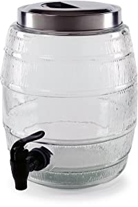 Circleware 66948 Barrel Shaped Sun Tea Jar Beverage Dispenser, Fun Party Entertainment Home Kitchen Glassware Water Pitcher for Juice, Beer, Kombucha & Cold Drinks, Lead-Free, 1.3 Gallon, Keg